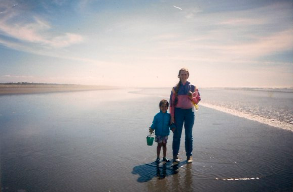 My mother and me exploring the Washington beaches, once upon a time ago.
